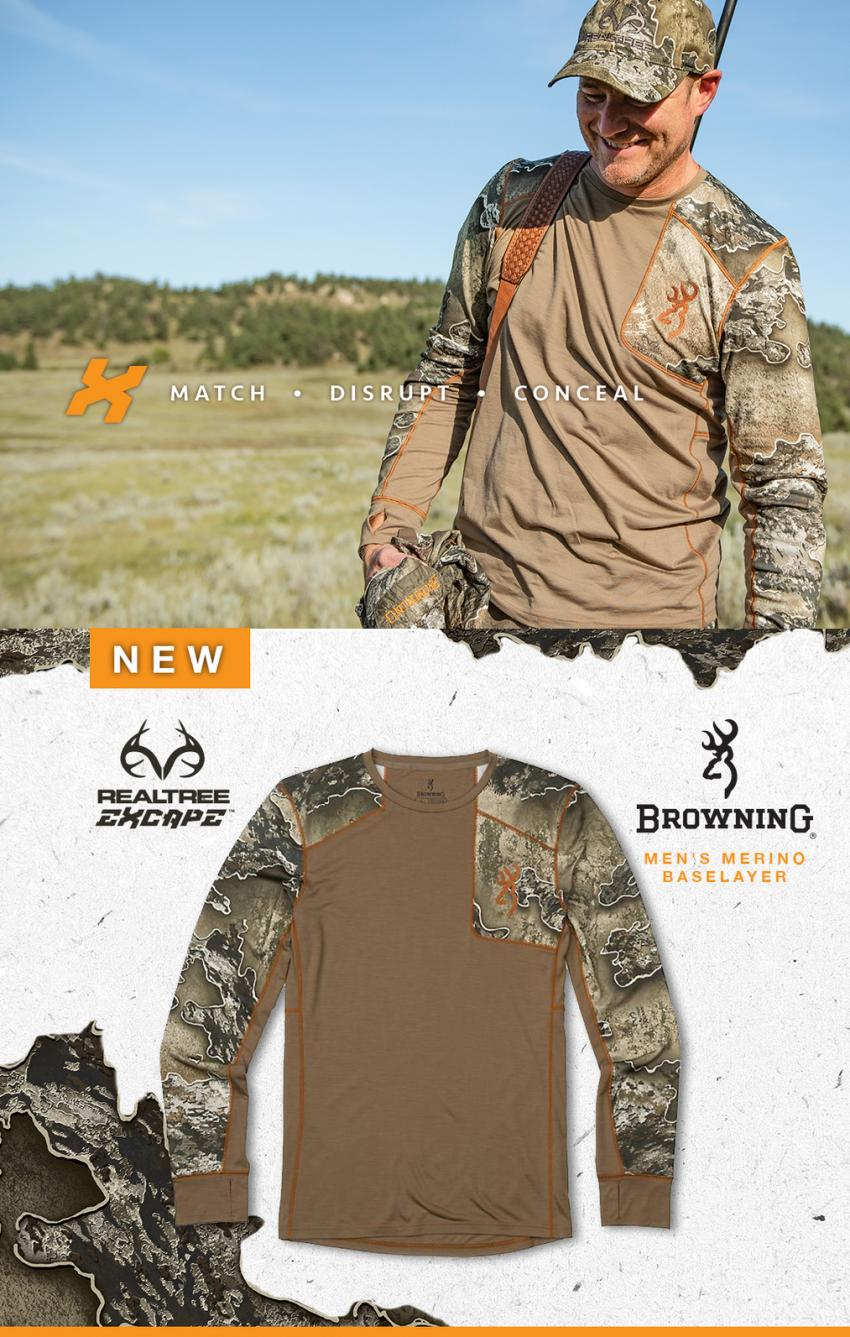 browning realtree excape camouflage base layers