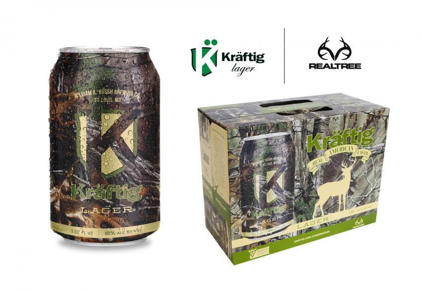 Kräftig lager beer in Realtree Extra
