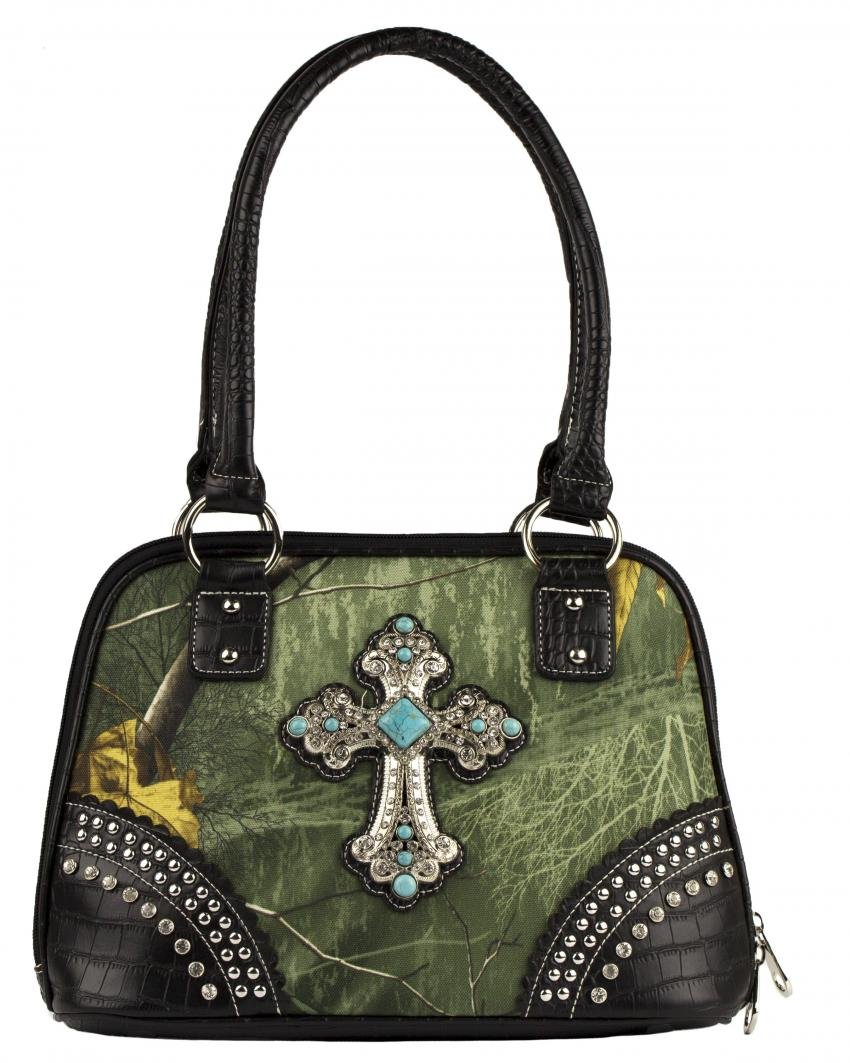 Realtree Xtra Colors Rhinestone Fleur De Lis Camouflage Concealed Carry Purse