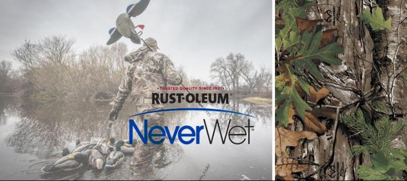 hunter walking through water with neverwet and rust-oleum written over he image